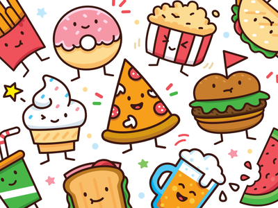 Food Doodle Toolkit icon outline fun creative sticker funny flat illustration ice cream beer cartoon mascot character donut burger pizza sweet cute doodle food