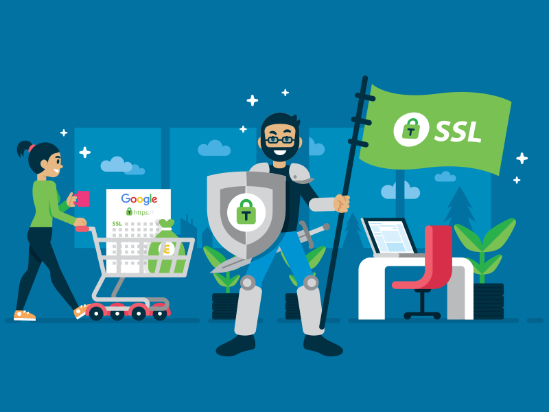 tussendoor.nl - Illustration 13 ui illustration google shield office knight mascot illustration security landing page ssl plugin wp wordpress