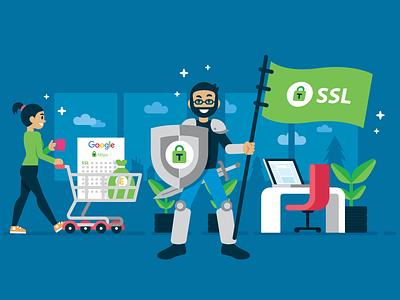 tussendoor.nl - Illustration 13 ui illustration google shield office knight mascot illustration security landing page ssl plugin wp wordpress