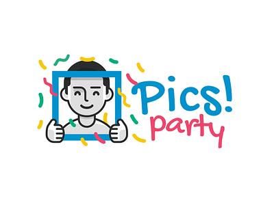 Pics! Party Logo happy cartoon social mascot color funny fun outline logo brand mark illustration party selfie face