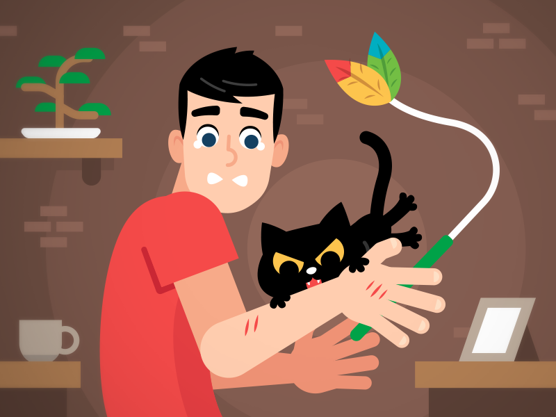 When Your Cat Bites You Instead Of The Toy..... friends dribbble fun funny character cartoon frustrated toy game illustration flat fullstory playoff cat