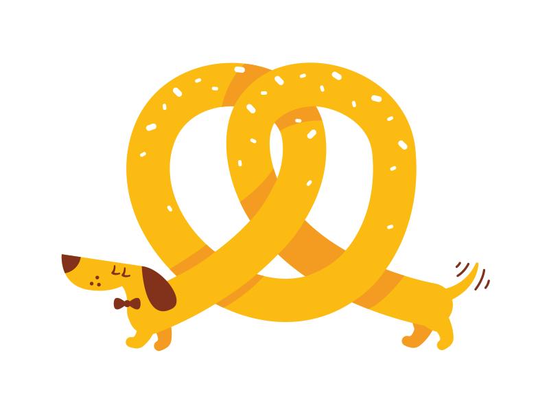 Pretzel Dog design sticker icon cute animal character cartoon mascot character design yellow fun funny logo brand mark creative germany dachshund food flat illustration dog pretzel