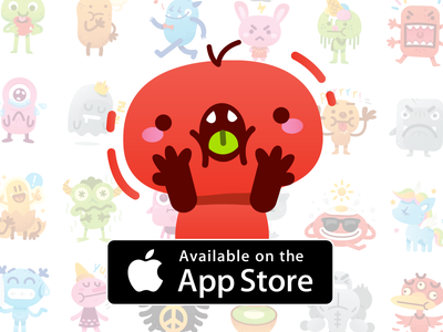 Cute Freak Monsters Emoji ios app application characters mascot silly funny freak sweet cute flat emoticon emoji creatures monsters