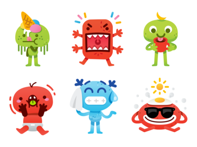 Cute Freak Monsters Emoji - 6 characters simple sticker creative character flat cartoon mascot illustration icon kawaii ice cream coffee creature monster cute freak sweet funny emoticon emoji