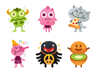 Cute Freak Monsters Emoji - another 6 characters icon creative sweet character flat cartoon mascot illustration funny characters silly monster pizza kiwi emoticon emoji pinocchio peace cute freak