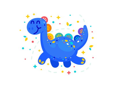 Fantasy Dinosaur Illustration design sticker creative animal character logo cartoon flat illustration kawaii cute sweet fairy tale flat clipart mascot children colorful magic fantasy brontosaurus dinosaur