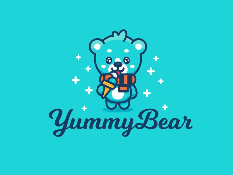 Yummy Bear illustration children kids logo brand mark winter ice cream kawaii sweet cute outline flat animal bear