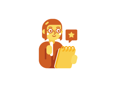 Copywriter icon character geek nerd illustration flat cute girl job copywriter yellow icon funny mascot character