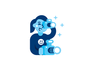 Photographer icon character logo design face sticker simple sweet creative cartoon girl picture web mascot illustration geek nerd funny blue shades flat character icon photography