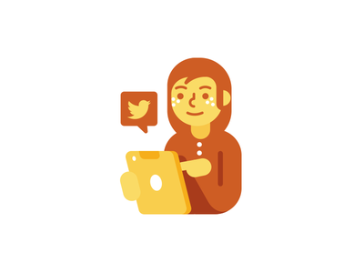 Social Manager icon character funny geek nerd girl illustration tablet yellow shades flat icon logo twitter manager social