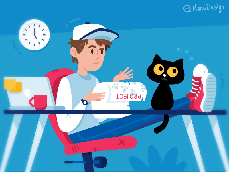 Illustration for Fiverr Newsletter face animal simple design sweet cute mascot cartoon creative laptop young boy designer flat character mailchimp funny illustration fiverr freelance cat