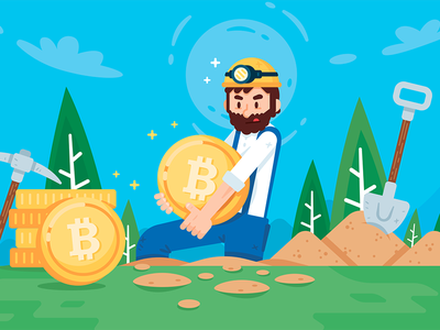 Cryptocurrency Bitcoin Miner Illustration gold worker beard simple design cute flat mascot business concept creative character colorful fun funny miner cryptocurrency bitcoin illustration cartoon