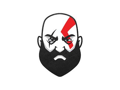 Kratos - God of War videogame god war mascot creative design character cartoon game tribute iconic icon minimal flat spartan face beard illustration god of war kratos