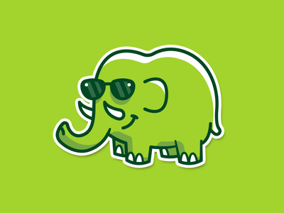 Green Phant outline animal elephant clean energy green fun funny cartoon flat sunglasses illustration logo brand mark sticker