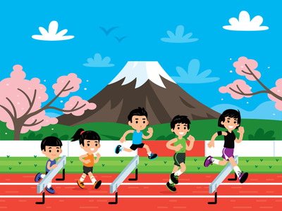 Illustration for Run.jp tokio mt. fuji volcano fun funny characters japan teenager flat illustration running sports kids children
