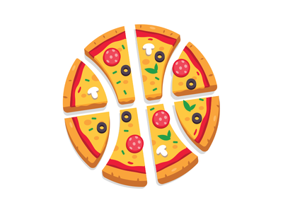 Pizza Basket mushrooms slice yummy simple design sweet creative icon funny cheese nba tasty cartoon italy flat illustration game playoff basket pizza