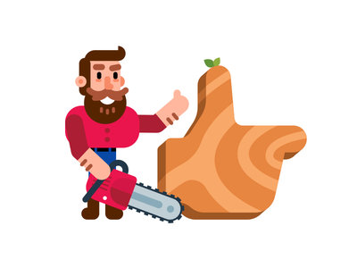 Like Icon - Real Man Woodcutter saw creative like fun funny beard icon illustration flat cartoon wood woodcutter carpenter