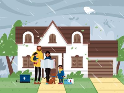 Hurricane Peril Illustration weather storm rain perils cartoon wind neighborhood family flat house hurricane illustration