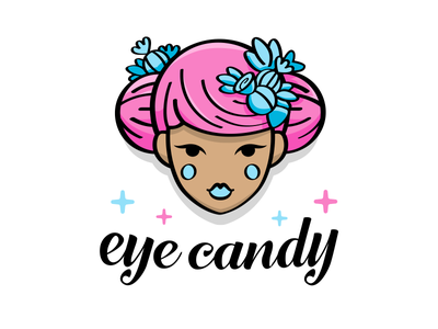 Eye Candy - clothing brand boho chic sexy face candy clothes flat cartoon outline illustration logo brand mark feminine girl