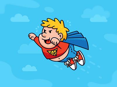 Funny Superhero friend friendly creative comic fat chubby mascot character fun funny sky cartoon illustration flat superhero