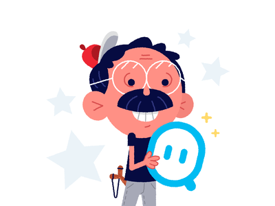 Starting To Be Old But Feel Young cute face sweet birthday man logo design funny old young freelance creative happy graphic design cartoon mustache mascot character flat illustration