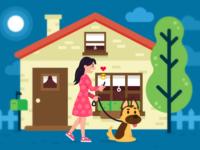 Walking with the dog illustration