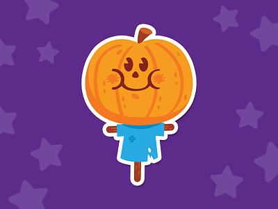 """Scary"" Pumpkin Scarecrow kawaii sweet orange happy face emoticon emoji smile cartoon happy funny illustration scarecrow spooky halloween cute sticker flat stickermule playoff pumpkin"