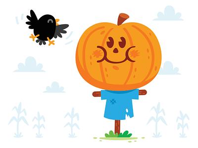 Scarecrow Pumpkin kids scarecrow pumpkin halloween bird sparrow flat crow mascot children clipart corn wheat folk cute kawaii sweet illustration cartoon funny