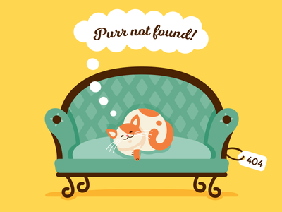 404 Error Page - Purr Not Found vintage sleeping clipart graphic fun creative animal character cartoon landing page mascot cute sweet funny flat illustration couch kitty cat 404 error page