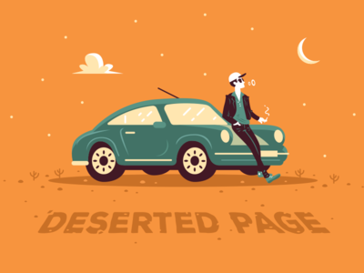 404 Error Page - Deserted Page ui warm colors typography orange typo porsche page not found 404 error page clipart graphic creative character flat cartoon desert sport car car night mascot illustration