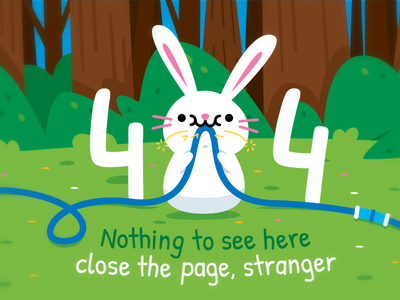 404 Error Page - Bunny children emoji clipart adorable kawaii bunny rabbit woodland 404 error page fun sweet creative cute animal character funny flat cartoon mascot illustration