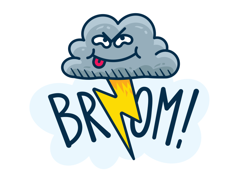 Fart Cloud - Funny Meteo Character Icon silly creative cute emoji emoticon flat children meteo weather fart outline sticker mascot cartoon illustration funny icon character thunder cloud