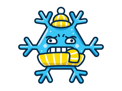 Ice Cold - Funny Meteo Character Icon flat meteo kids children winter snowflake icon sticker cute character funny mascot illustration outline emoticon emoji cartoon cold ice weather