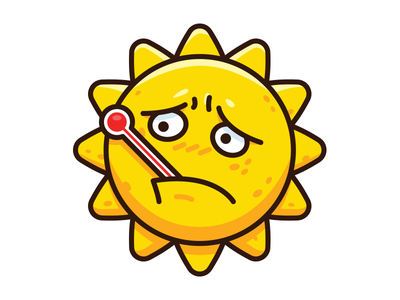 Fever Sun - Funny Meteo Character Icon fever sunny sun weather cartoon comic outline icon emoji emoticon face sweet creative cute character funny flat cartoon logo mascot illustration