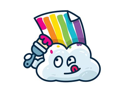 Fake Rainbow - Funny Meteo Character Icon painting artist cloud rainbow emoticon emoji outline children sweet sticker icon creative cute character funny flat cartoon logo mascot illustration