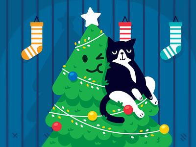 Merry Christmas! cuddles friends kitty gift home sticker creative animal character funny merry christmas sweet cute illustration cartoon flat santa claus cat christmas tree christmas