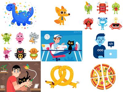 My Best 9 of 2018 flat pretzel illustration laugh characters pizza mascot logo funny fun monsters emoticon emoji dinosaur cat dog cartoon best 9 2018 best 2018 animals