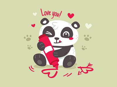 Panda Valentine's Day Dribbble vector valentines day sweet sticker panda mascot love kawaii illustration heart graphic funny flat cute creative clipart character cartoon artist animal