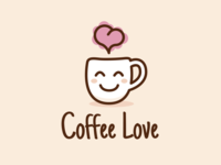 Coffee Love Cute Logo Design