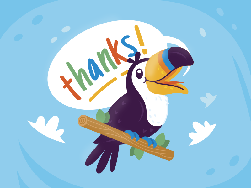 Thanks to Toucans kids children bird tropical happy party design sweet sticker cute animal character funny logo mascot cartoon flat toucan thanks illustration