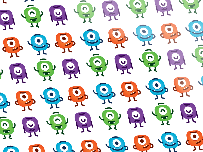 Cute Monsters Pattern design silly childrens colorful design kids monsters vector face simple sweet icon sticker cute creative character funny flat cartoon mascot illustration