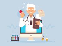 Web Doctor Health Illustration