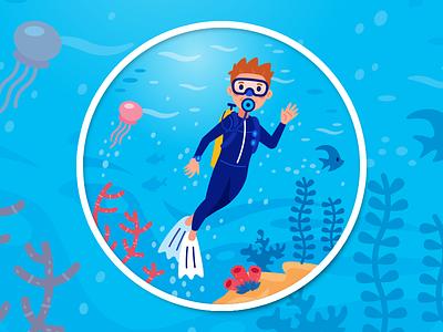 Scuba Diver Illustration for Good&Co creative sticker funny jellyfish blue under water summer underwater deep sea vector icon cute animal character flat cartoon mascot illustration scuba diver scuba diving sea