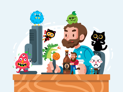 I open an Instagram Account monsters beer dragon ninja children cat instagram design sticker icon creative cute animal character funny logo flat cartoon mascot illustration