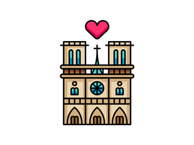 Notre Dame de Paris tribute outline illustration france architecture outline icon cathedral church parisian creative heart design sticker icon logo flat cartoon outline paris notre dame illustration