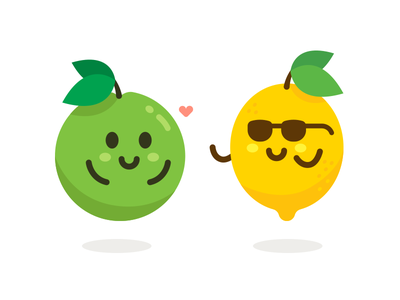 Kawaii Fruits kawaii fruit green yellow emoticon emoji apple lemon vector sweet sticker icon cute character funny flat logo cartoon mascot illustration