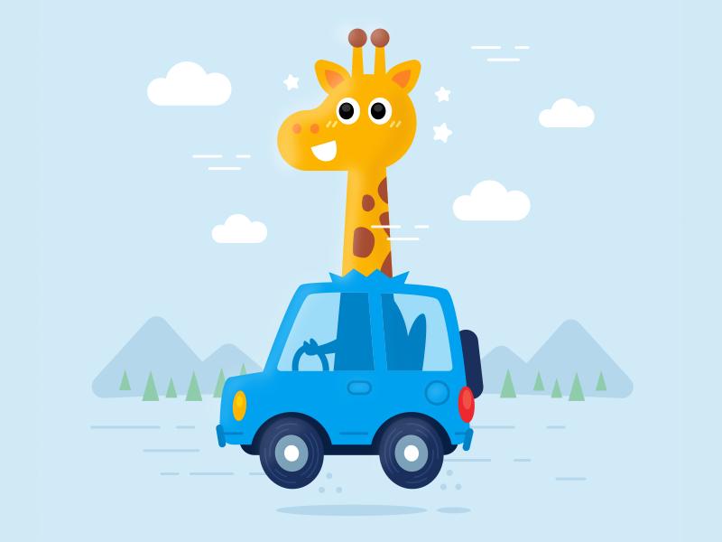 Giraffe drive a car in its own way adventure digital kindergarten icon happy vector childrens illustration drive design sticker creative cute character funny flat mascot illustration cartoon animal giraffe