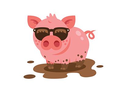 Cool Piggy t-shirt design farm children cool sunglasses pork pig pink vector sticker icon cute animal character funny logo flat cartoon mascot illustration