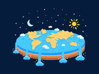 Flat earth t shirt design illustration