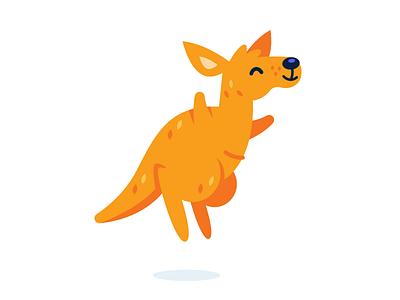 Wellaby.ca Mascot happy australia creative children design sweet sticker icon cute vector kangaroo animal character funny flat logo cartoon mascot illustration wallaby